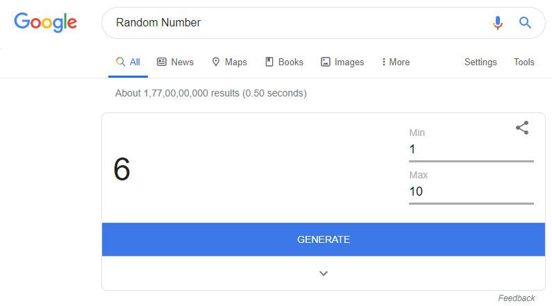 random number google easter egg