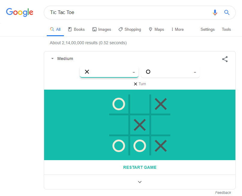 tic tac toe game google easter egg