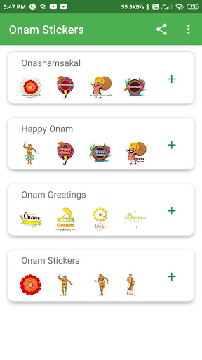 Onam Stickers for WhatsApp Android Application Screenshot