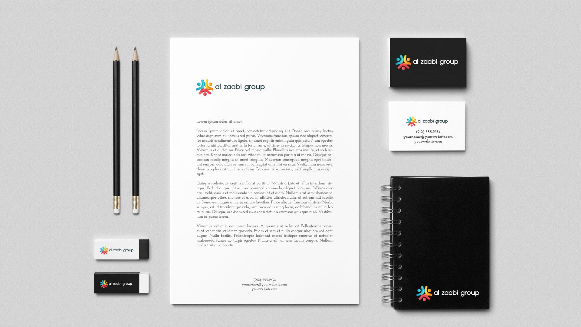 Al Zaabi Group Abu Dhabi Branding Letterhead Visiting Card Design Presentation