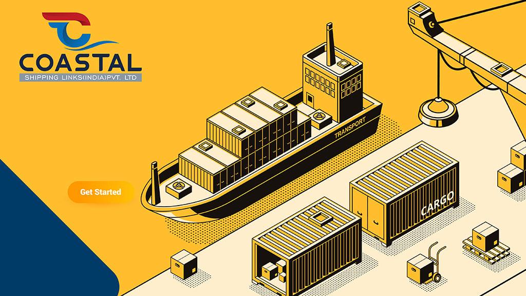 Coastal Shipping Links India Logo Design Illustration