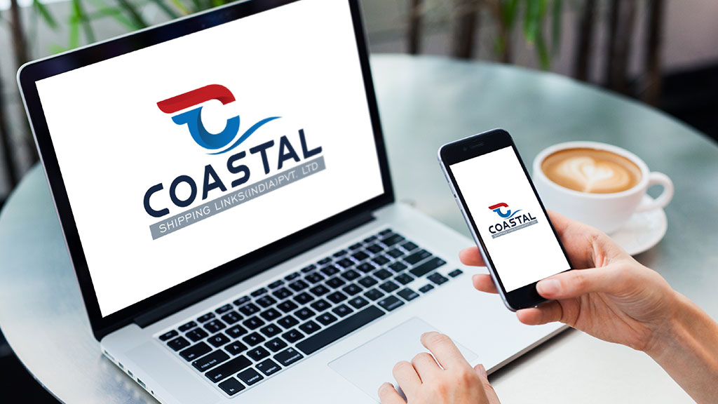 Coastal Shipping Links India Logo Design in Mobile and Laptop