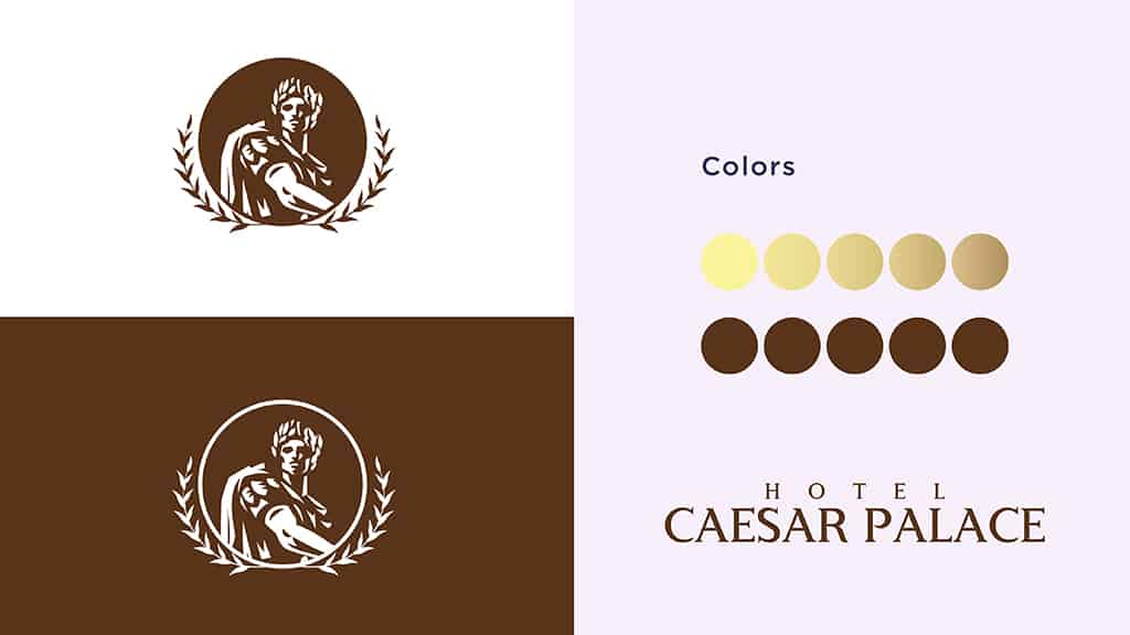 Hotel Caesar Palace Logo Design Color Palette