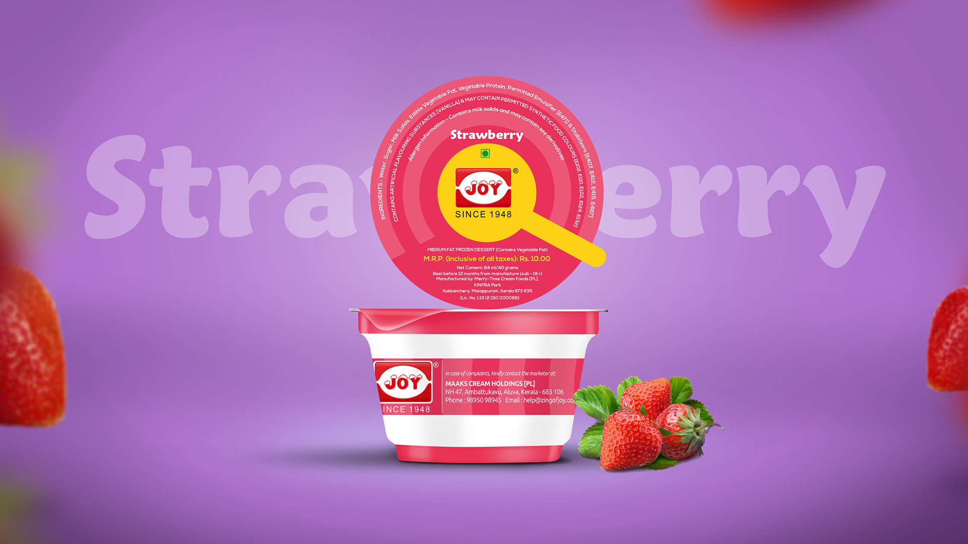 Joy Ice Cream Strawberry Cup Package Design