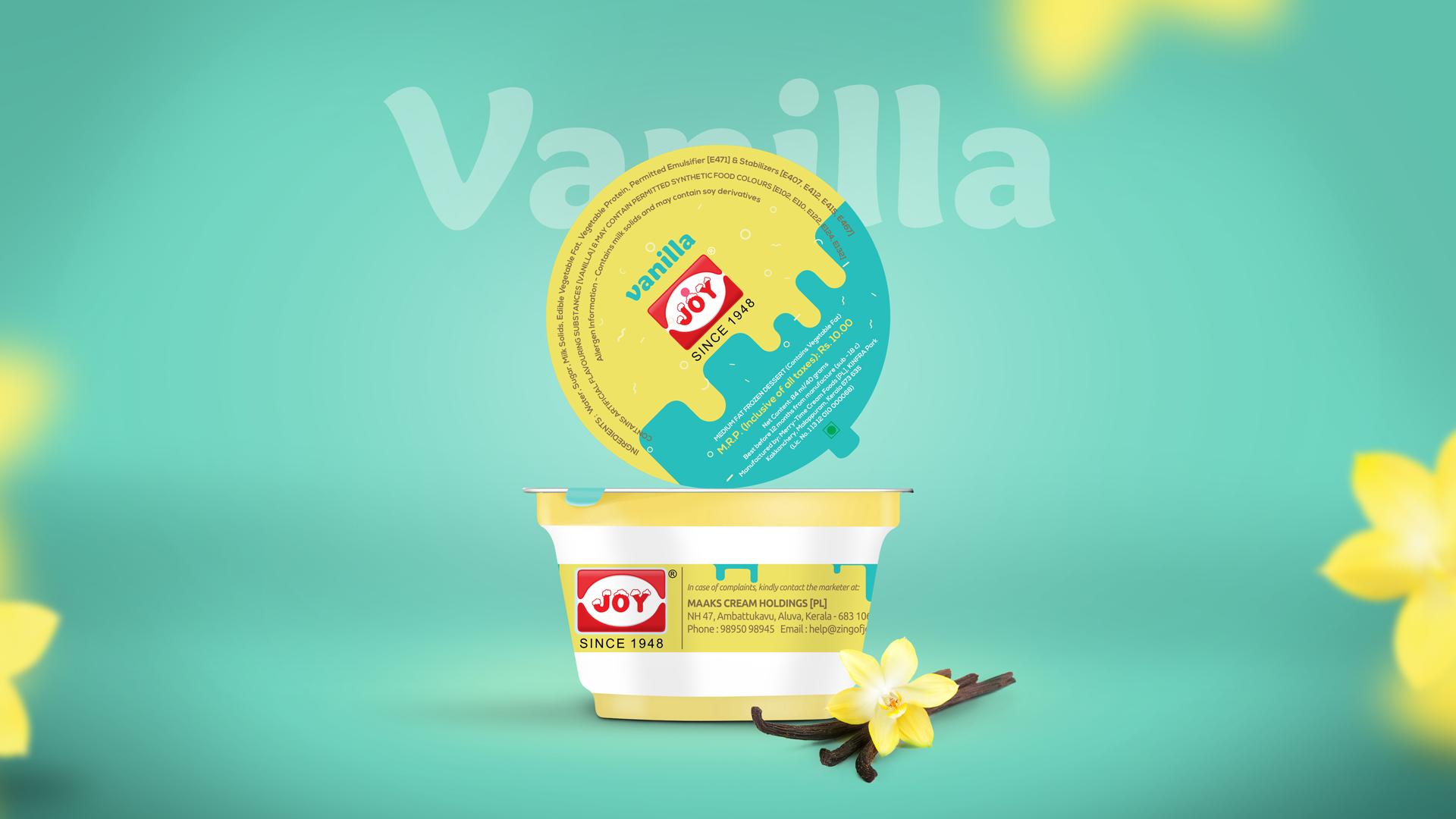 Joy Ice Cream Vanilla Package Design