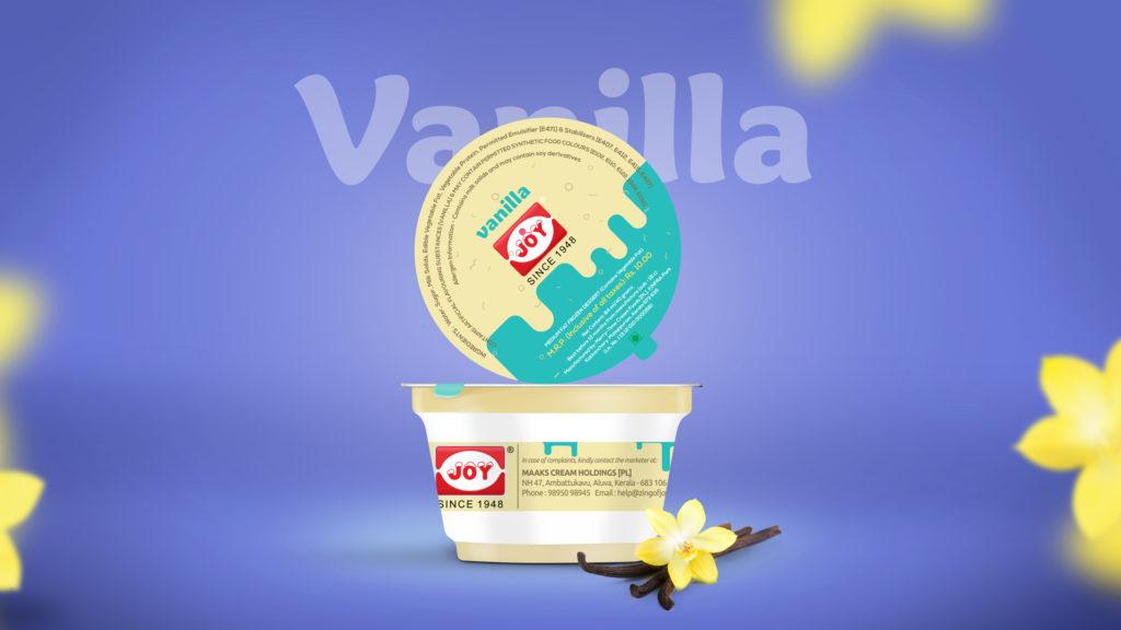 Joy IceCream India Vanilla Package Design