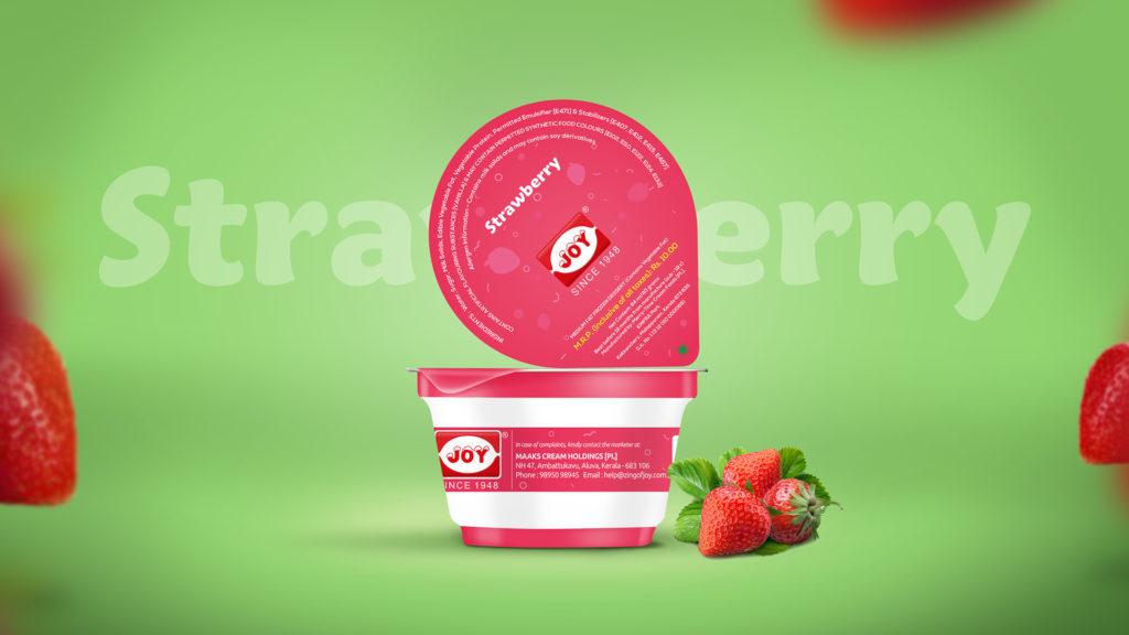 Joy IceCream Strawberry Cup Package Design