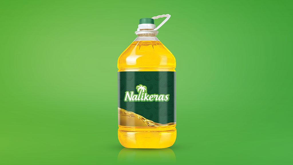 Nalikeras Coconut Oil Logo in Bottle Design Presentation