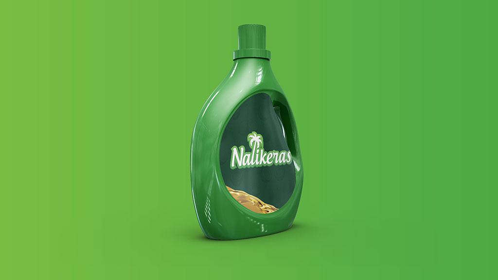 Nalikeras Coconut Oil Logo in Bottle Design