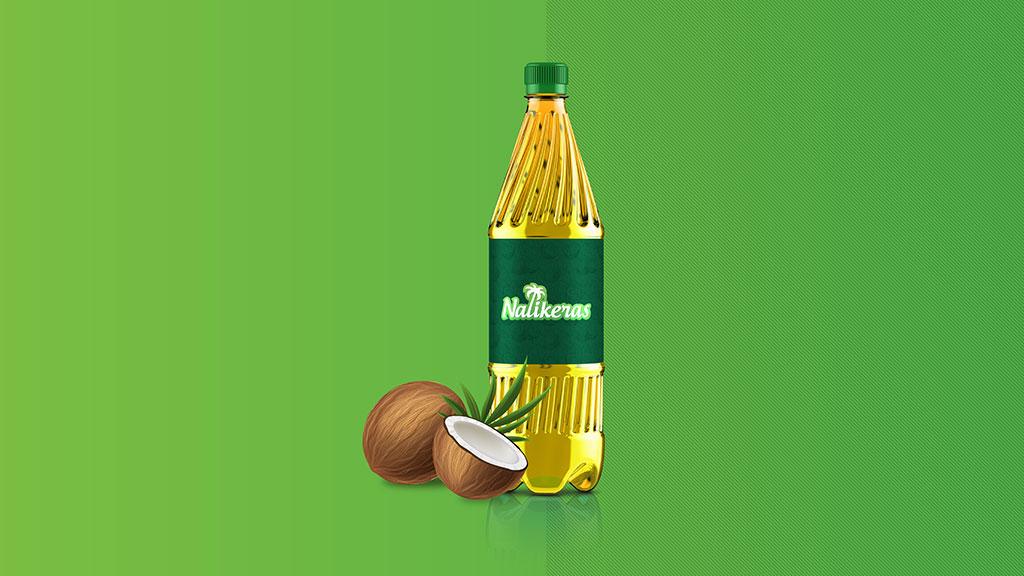 Nalikeras Virgin Coconut Oil Logo in Bottle Design