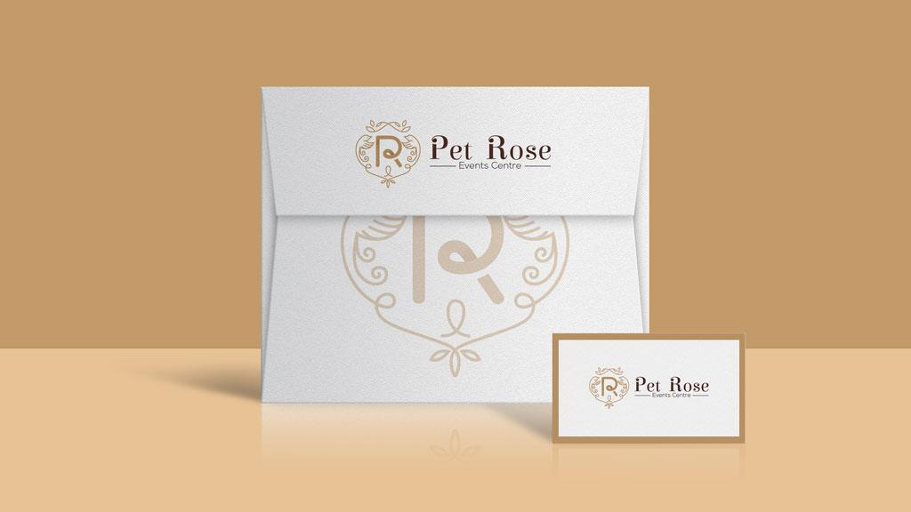Pet Rose Events Centre Envelope Design by ZeroBulb