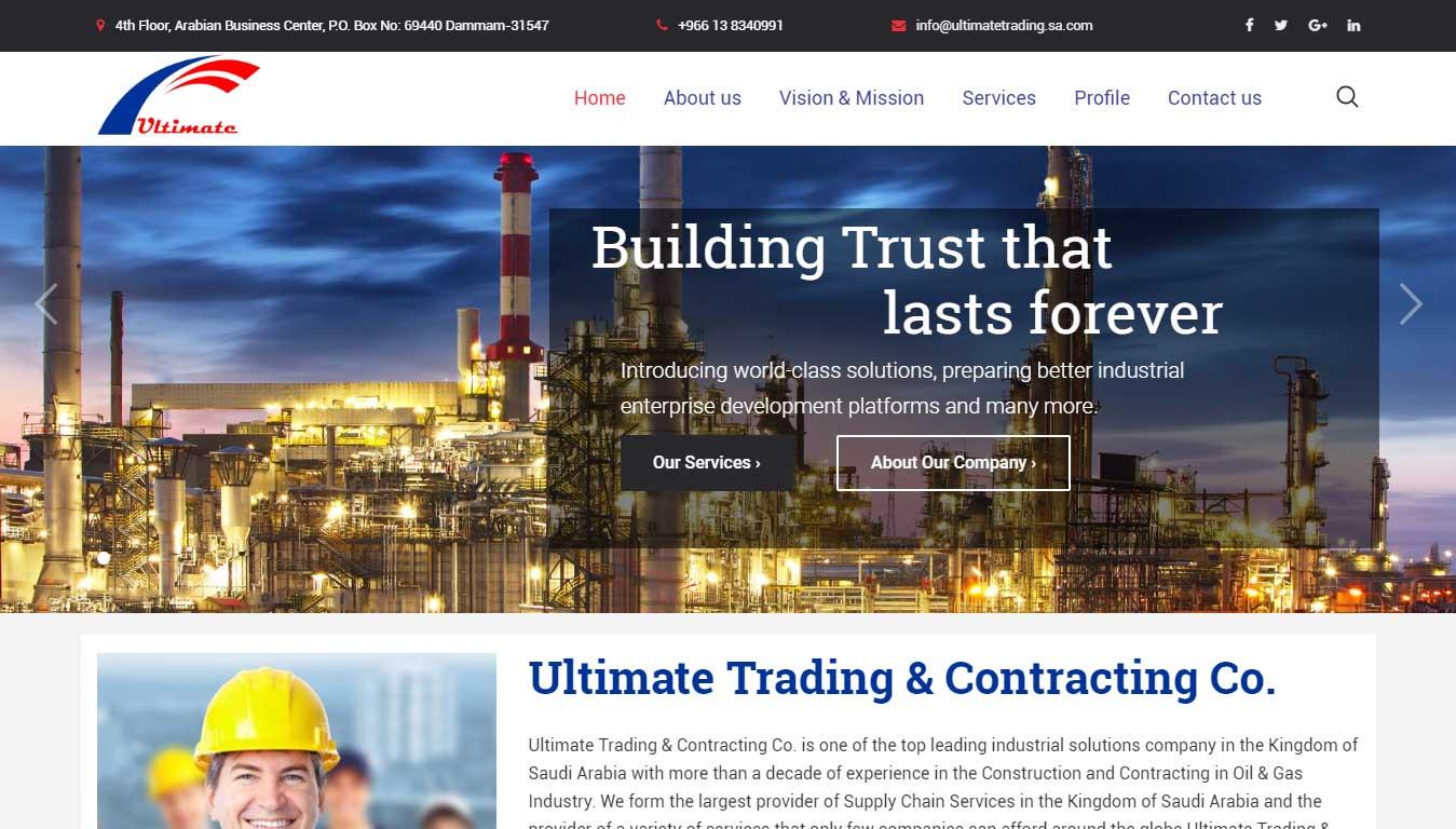 Ultimate Trading Saudi Arabia Company Website Homepage Design