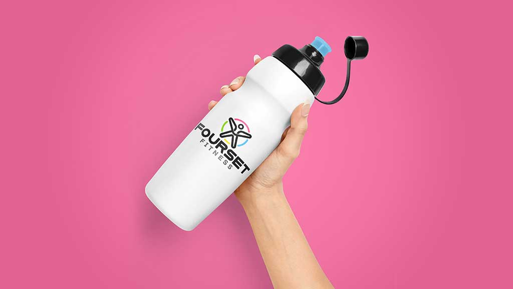 Fourset Fitness Center Logo in Water Bottle Design