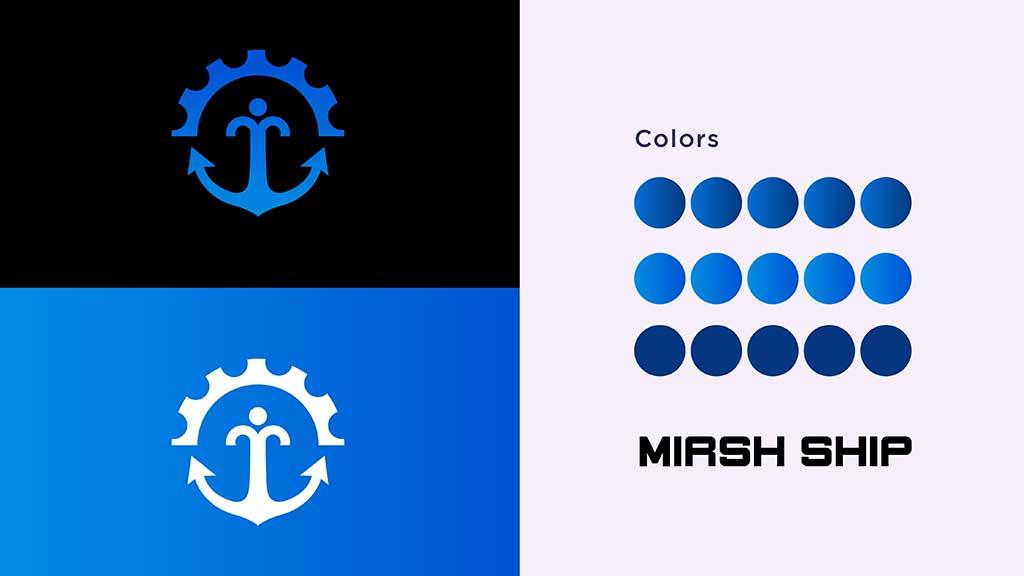 Mirsh Ship Management Services Logo Color Designs