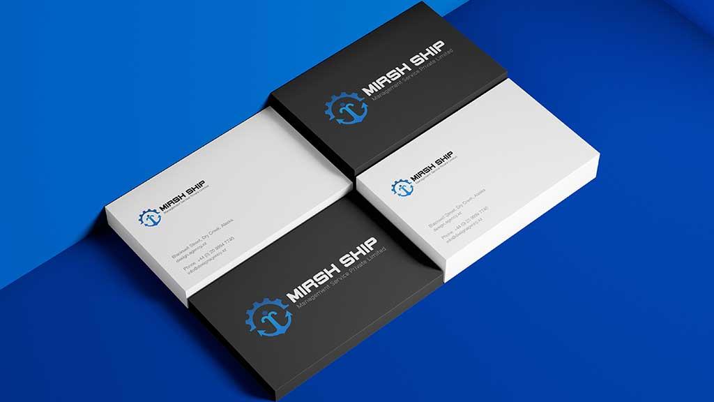 Mirsh Ship Management Services Logo Visiting Card Design Presentation