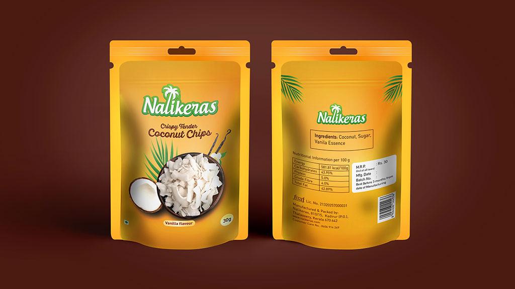 Nalikeras Crispy Tender Coconut Chips Kerala Product Package Design