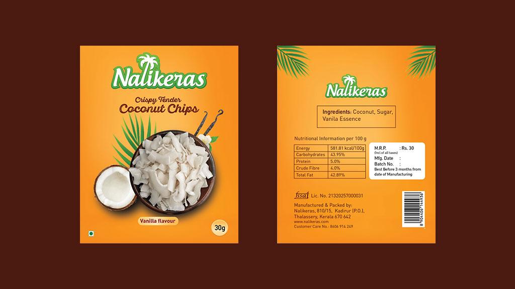 Nalikeras Crispy Tender Coconut Chips Product Kerala Package Design
