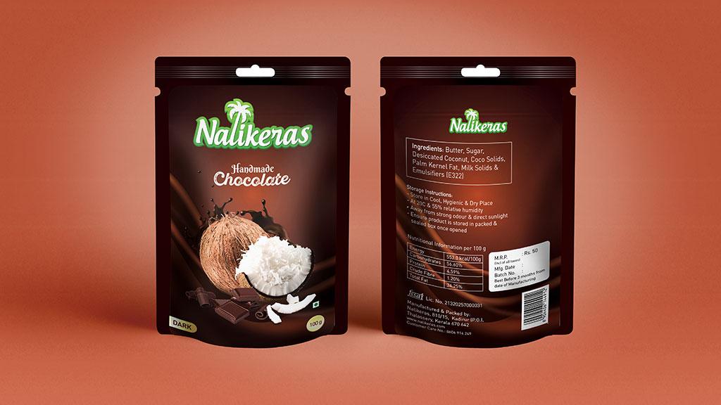 Nalikeras Handmade Chocolate Coconut Chips Product Label Design Kerala Package